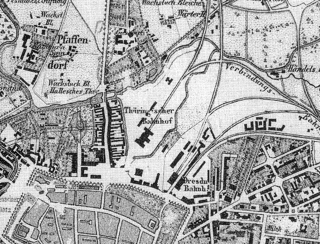 Ausschnitt Historische Stadtkarte Leipzig mit Thüringer Bahnhof um 1860