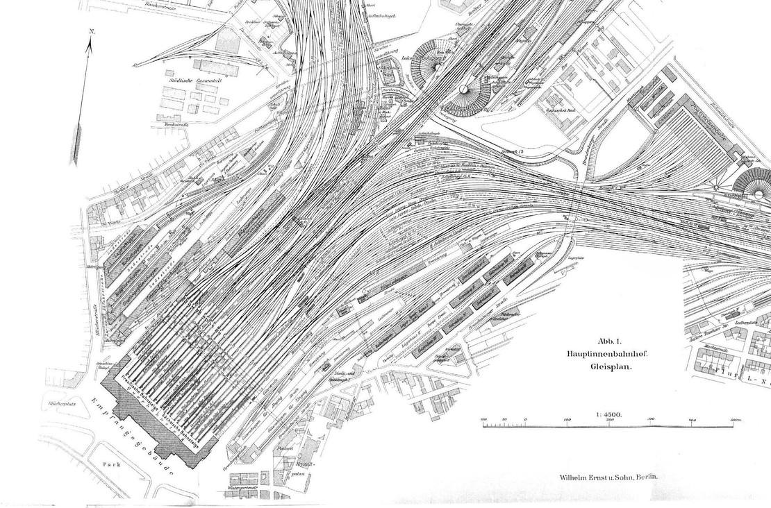 Auschnitt historischer Gleisplan Hauptbahnhof Leipzig um 1907.