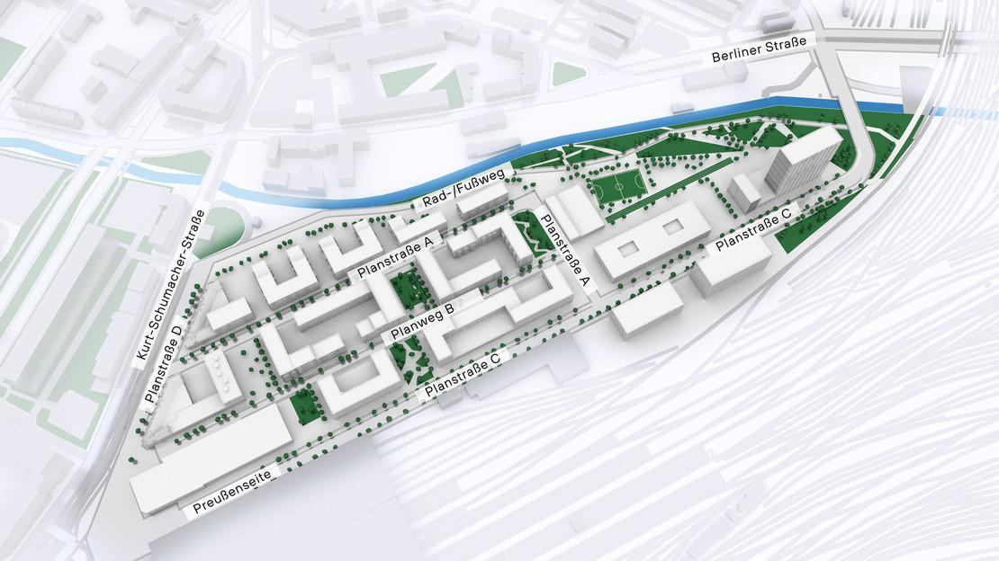 Modelldarstellung Löwitz Quartier mit Straßenbenennung.