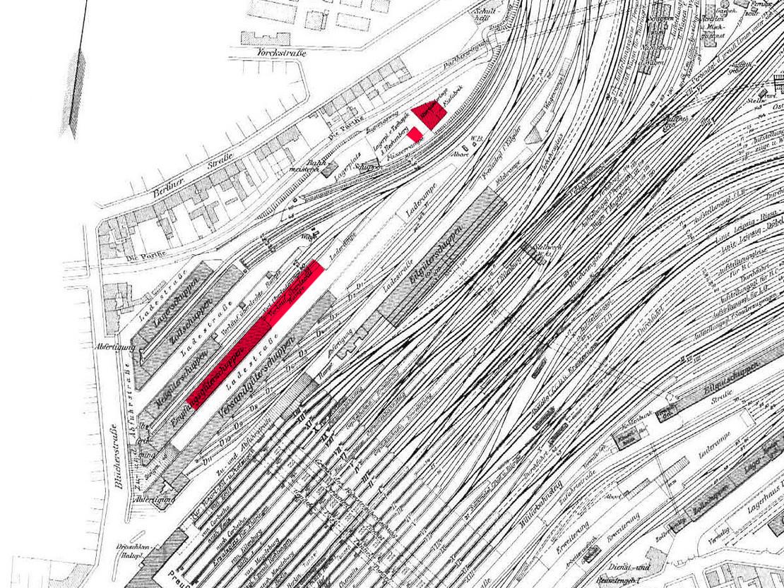 Im Dezember 2020 und Januar 2021 abgerissen: Eilgüterschuppen und Eisfabrik.