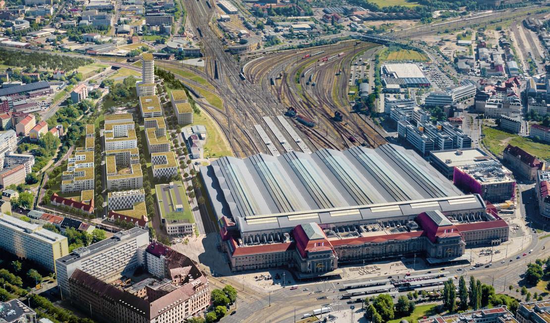 Luftbildaufnahme des Leipziger Hauptbahnhof von Süden gesehen mit Simulation des benachbarten Neubauquartiers.