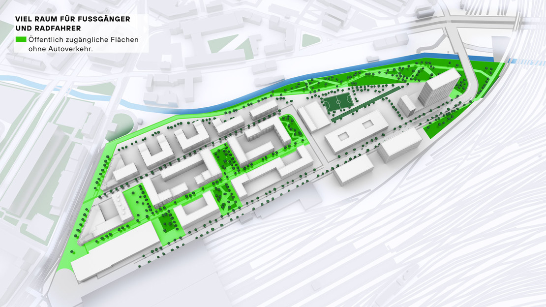 Modelldarstellung Löwitz Quartier mit farbiger Auszeichnung von Flächen ohne Kraftverkehr.