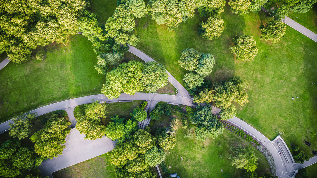 Luftbildaufnahme eines grünen Parks mit Wegen.