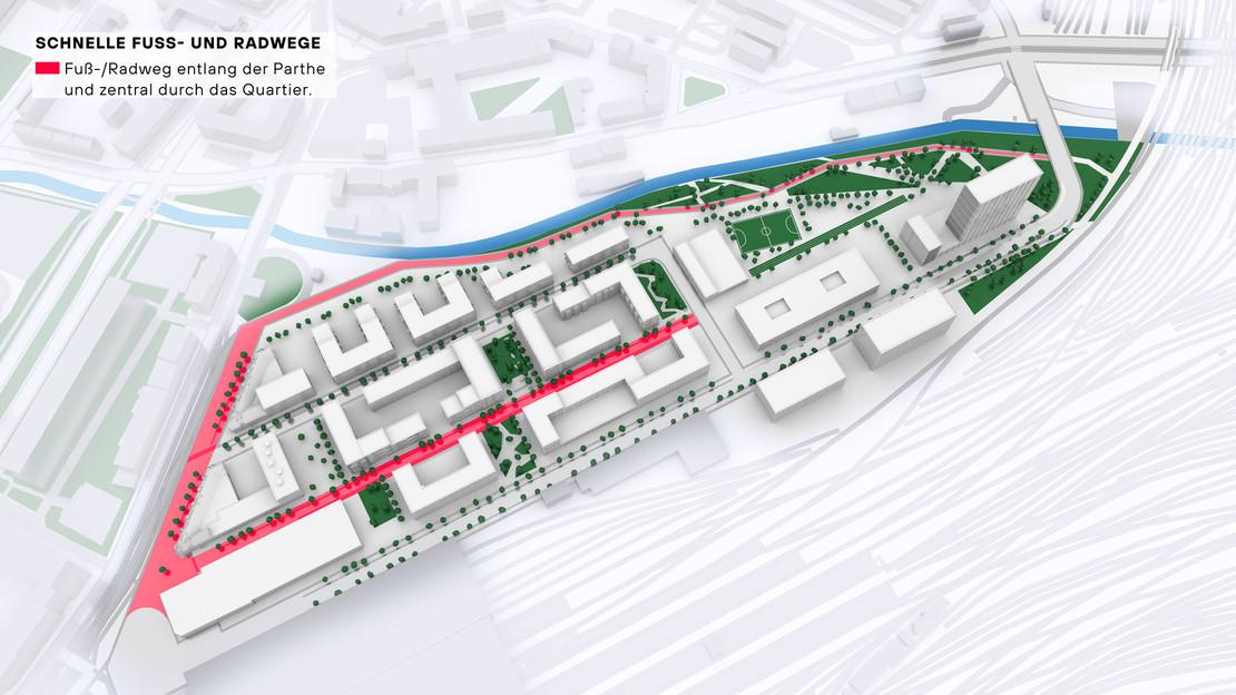 Modelldarstellung Löwitz Quartier mit farbiger Auszeichnung Hauptwege für Rad- und Fußgängerverkehr..