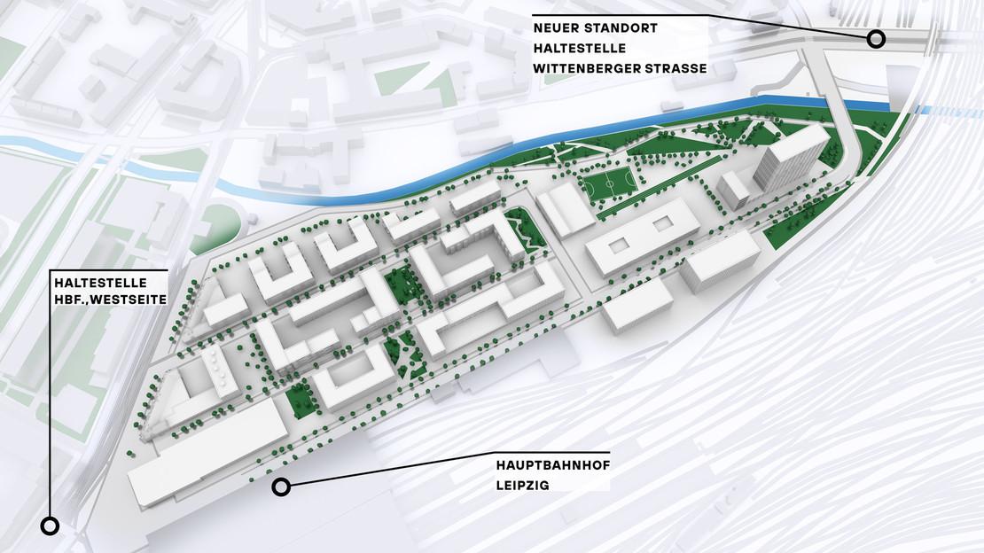 Modelldarstellung Löwitz Quartier mit Nah- und Fernverkehrshaltestellen.